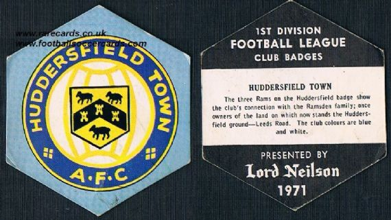 1971 Huddersfield Town Lord Neilson  1st Div club badges
